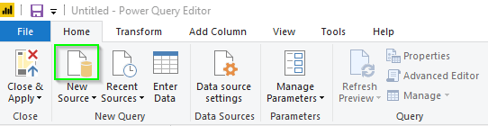 Power Query New Source Button